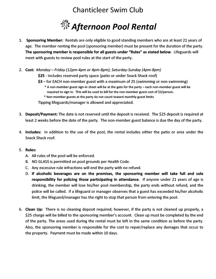 Afternoon Party Agreement page 1