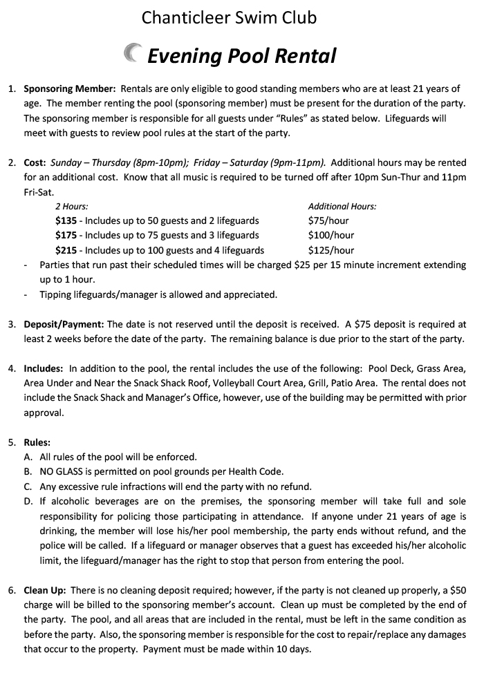 Evening Party Agreement page 1